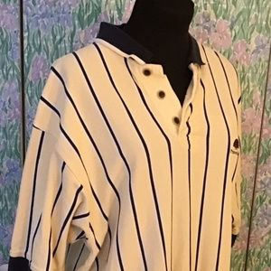Cutter and Buck Yellow stripped Golf Polo Size Lg